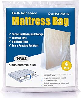 ComfortHome 4 Mil Extra Thick Sealable Mattress Bag with Adhesive Strip for Moving and Storage, Fits King and Cal King Size, 1 Pack