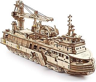 UGEARS Сonstruction Mecanique en Bois - Navire De Recherche Puzzle 3D Adulte - Maquette Bateau - Casse Tete Kit De Constru...