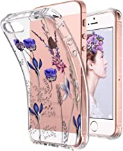 ULAK Floral iPhone SE Case Clear, iPhone 5s case, iPhone 5 case, Clear Slim Fit 5/5S/SE Case with Transparent Flexible Soft TPU Bumper Shock-Absorption Cover -Retail Packaging - Romantic Lavender