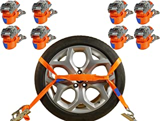 INDUSTRIE PLANET 8 x Spanngurte Auto Transport PKW 2000 daN 2,9m 35 mm Auto Transport Zurrgurte Reifengurte