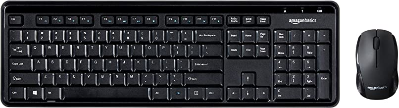 AmazonBasics Wireless Computer Keyboard and Mouse Combo - Quiet and Compact - US Layout (QWERTY)
