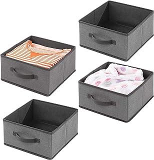 mDesign panier de rangement en fibre synthétique (lot de 4) – corbeille de rangement pour l'armoire – boite en tissu avec ...