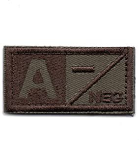 Tactical Blood Type A- Negative NEG Hook and Loop Patch Embroidered Morale Military Badge for Outdoors (Brown A-)