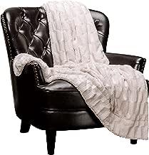 Chanasya Super Soft Fuzzy Faux Fur Elegant Rectangular Embossed Throw Blanket | Fluffy Plush Sherpa Cozy Cream Microfiber Blanket for Bed Couch Living Room Fall Winter Spring (50x65) - Cream