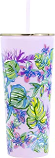 Lilly Pulitzer Double Wall Insulated Tumbler with Reusable Flexible Straw, Holds 24 Ounces, Mermaid in the Shade
