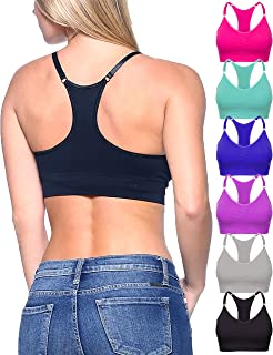 Barbra Lingerie 6 Pack of Regular & Plus Size Wire-Free Sleep Yoga Racerback Seamless Bras