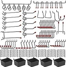 114 pcs Pegboard Hooks Assortment with Metal Hooks Sets, Pegboard Bins, Peg Locks for Organizing Storage System Tools