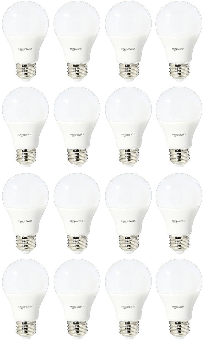 AmazonBasics 60 Watt Equivalent, Soft White, Dimmable, A19 LED Light Bulb | 16-Pack