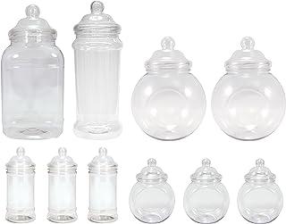 Britten & James - Surtido de 10 jarras de plástico vacías (diseño variado tipo victoriano) Plástico autorizado para uso con alimentos aunque puede utilizarse para otros usos. Ideal para fiestas.