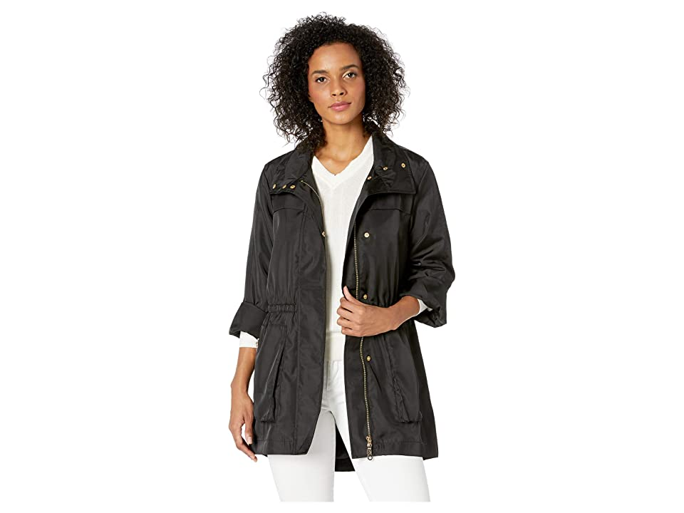Tribal Fake Memory Shell Roll Up Sleeve Jacket (Black) Women