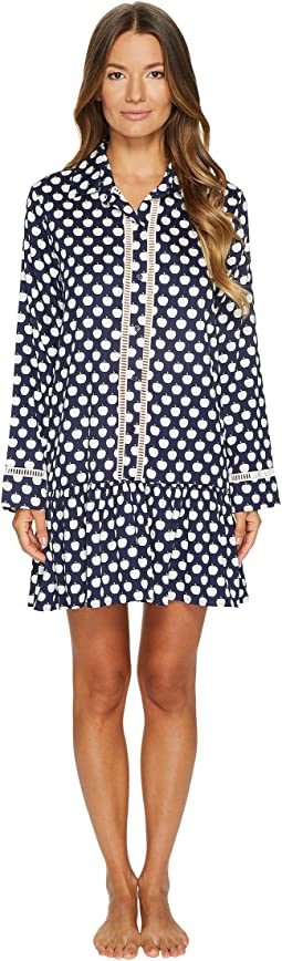 Kate Spade New York - Navy Apple Sateen Sleep Dress