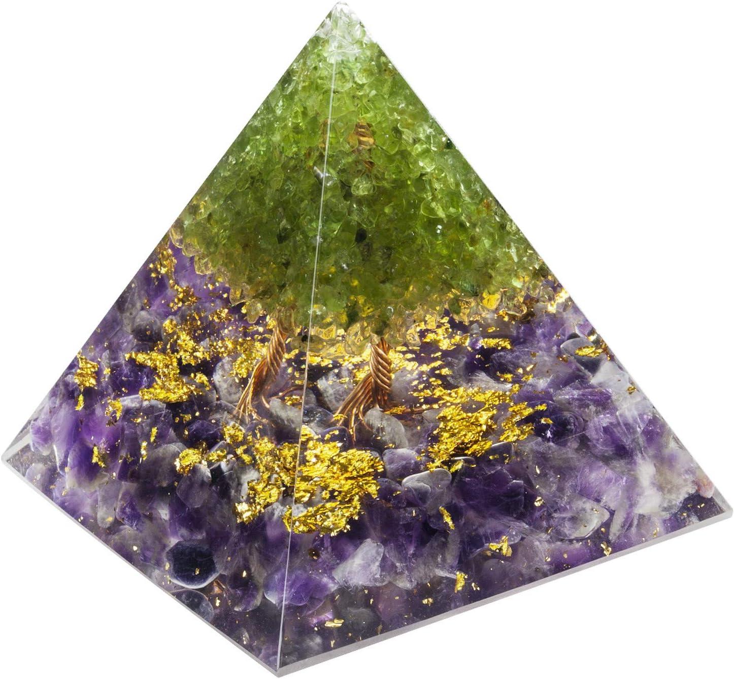 mookaitedecor Tree Brand new mart of Life Peridot Pyr Crystal Amethyst Orgone