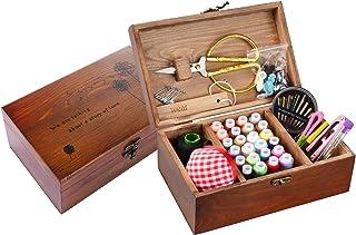BTU Sewing Kit Box Basket,Wooden Hand Home Sewing Repair Tool Kit,Beginner Universal Sew Kit Accessories for Women,Men,Adu...