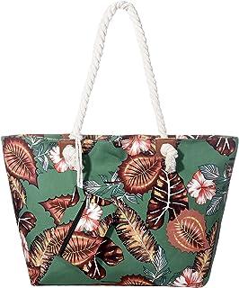DonDon Große Strandtasche wasserabweisend mit Reißverschluss Flower Garden