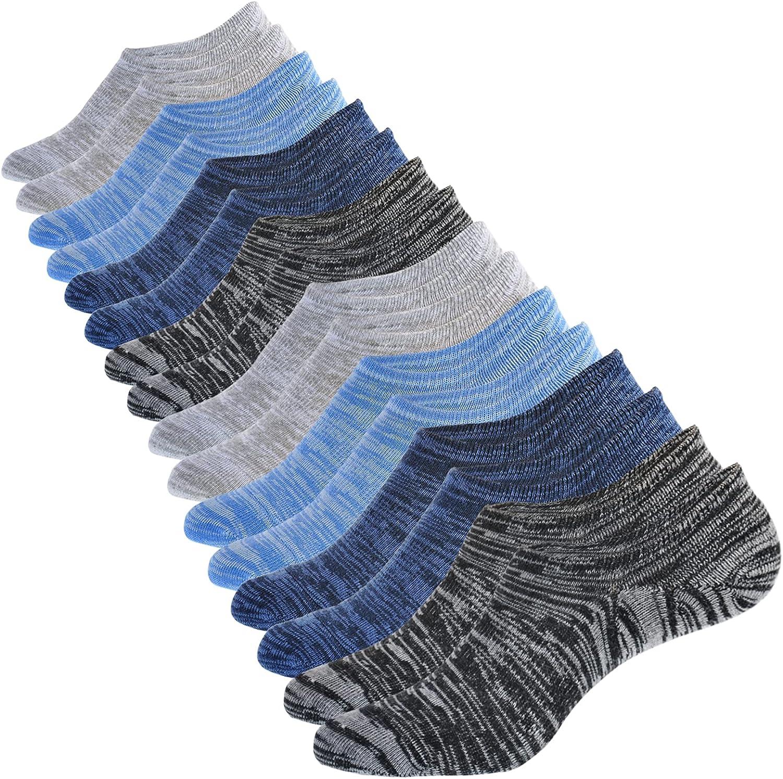 No Show Socks Men Cotton Low Cut Socks Casual Breathable Non Slip Invisible Socks 6-9/9-12/12-14