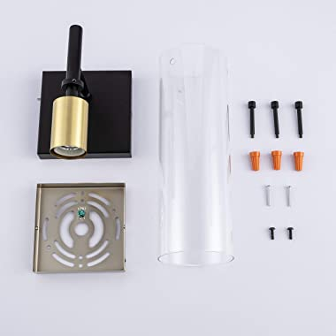 KRASTY Modern Metal Black and Gold Wall Sconces, Sconces Wall Lighting with Clear Glass Shade,E26 Socket Wall Lamp for Living