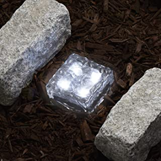 Glass Solar Brick with LED Lights - Path & Garden Landscape Accent Lighting, 4x4 Inch Square, Cool White, Waterproof, Outdoor - Rechargeable Batteries Included