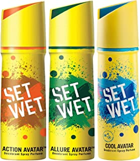Set Wet Deodorant Spray Perfume, Cool, Action and Allure Avatar, Each 150 ml, Pack of 3