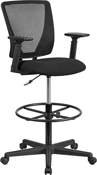 Flash Furniture Ergonomic Mid Back Mesh Drafting Chair With Black Fabric Seat Adjustable Foot Ring And Adjustable Arms