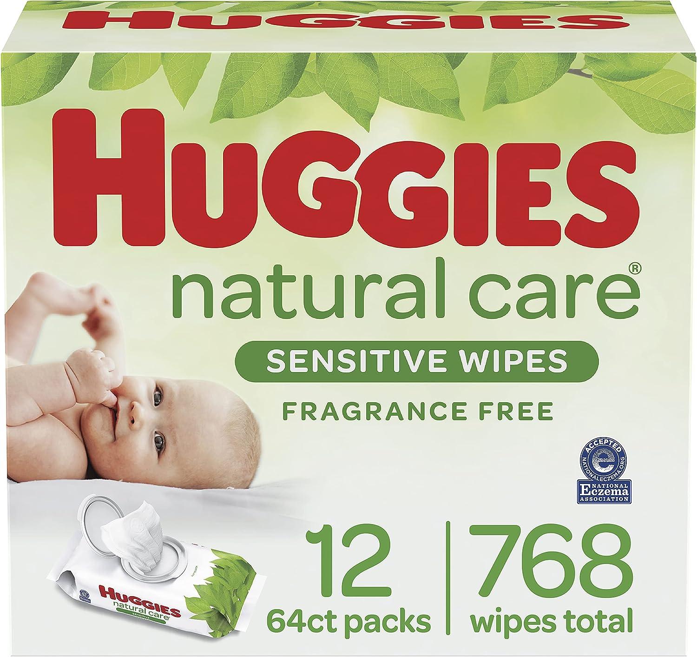 婴儿湿巾,Huggies自然护理婴儿尿布擦拭巾,无味,低过敏性,12个翻盖包装(768个擦拭物)