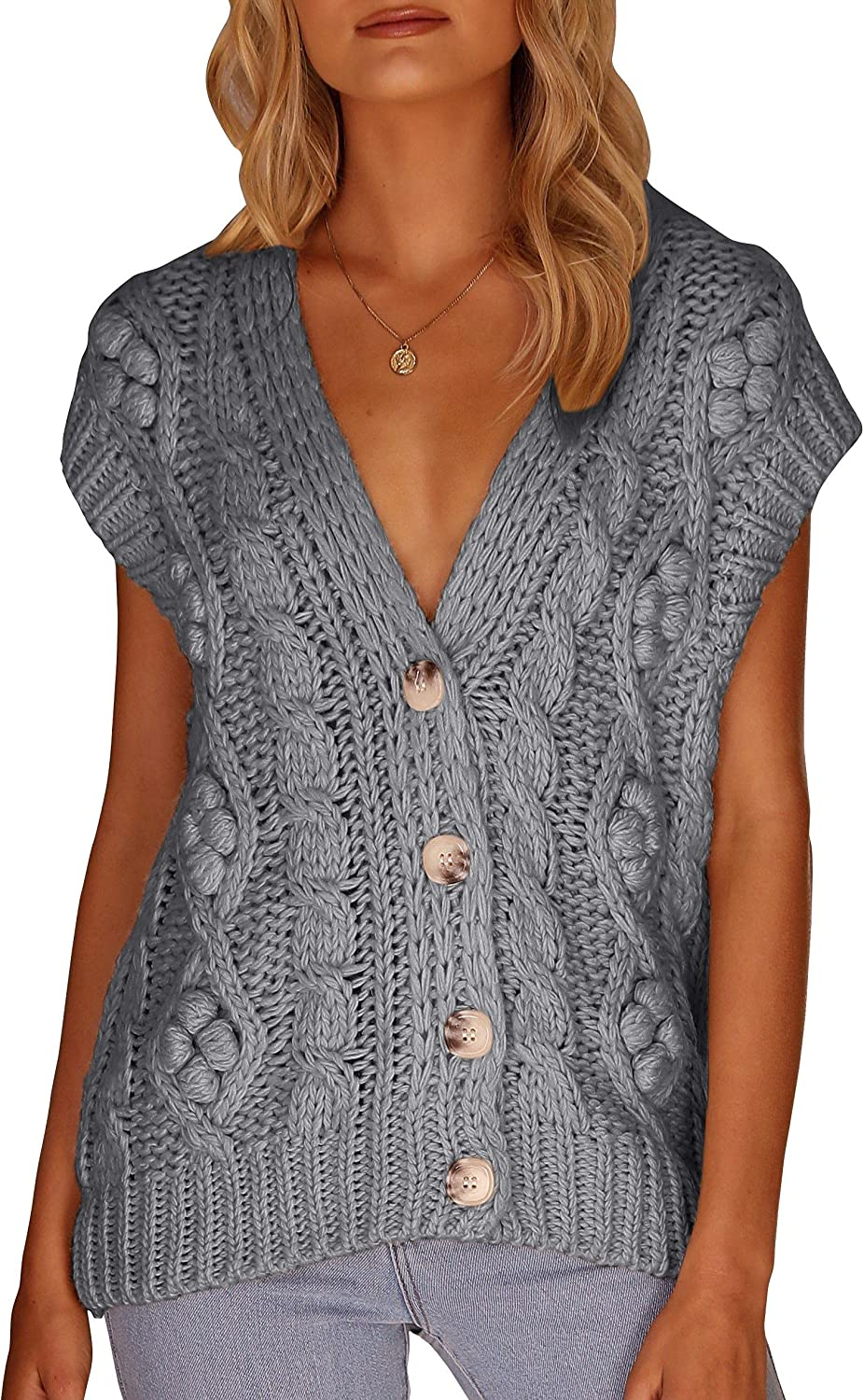 Womens Button Down Cable Knit Sweater Vests Loose Casual V Neck Knitted Sleeveless Cardigans Outerwear