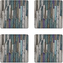 Ambesonne Rustic Coaster Set of 4, Image of Blue Grey Grunge Wood Planks Barn House Door Nails Country Life Theme Print, Square Hardboard Gloss Coasters, Standard Size, Grey Blue