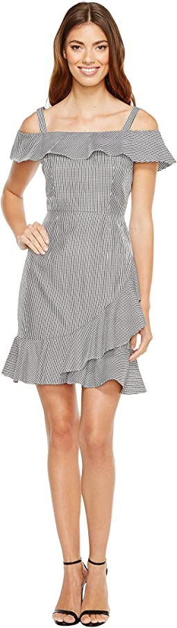 Donna Morgan - Off Shoulder Dress with Asymmetrical Ruffle Skirt