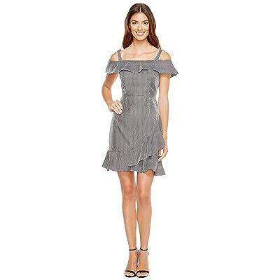 Donna Morgan Off Shoulder Dress with Asymmetrical Ruffle Skirt (Black/White) Women