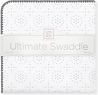 SwaddleDesigns Ultimate Swaddle, X-Large Receiving Blanket, Made in USA Premium Cotton Flannel, Taupe Gray Sparklers (Mom's Choice Award Winner)
