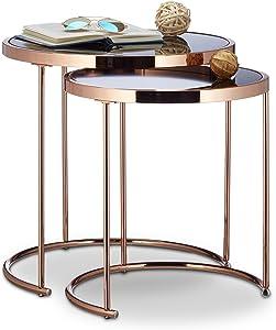 Relaxdays Ronde Console Plateau Blanc Lot de 2 Design Moderne-Verre Opale, Table Basse en métal, d'appoint, cuivre, Acier, Transparent, 51 x 50 x 50 cm