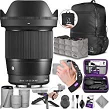 Sigma 16mm F1.4 DC DN Contemporary Lens for Sony E Mount Cameras with Altura Photo Essential Accessory and Travel Bundle