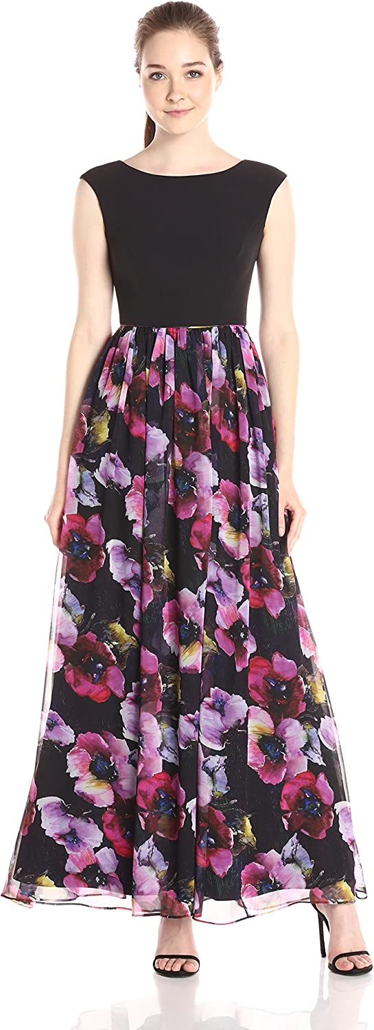 Aidan Mattox Aidan Women's Cap Sleeve Top Prom Dress with Ball Gown Skirt