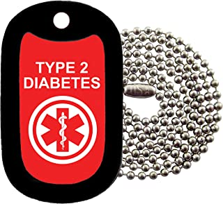 Military Dog Tags - medical alert TYPE 2 DIABETES Dog Tag Necklace - Tag-Z