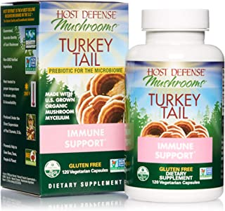 Host Defense, Turkey Tail Capsules, Natural Immune System and Digestive Support, Daily Mushroom Mycelium Supplement, USDA Organic, Gluten Free, 120 Vegetarian Capsules (60 Servings)
