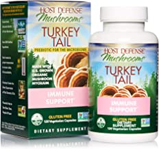 Host Defense, Turkey Tail, 120 Capsules, Natural Immune System and Digestive Support, Daily Mushroom Mycelium Supplement, USDA Organic, Gluten Free, 60 Servings