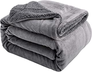 Sivio Sherpa Fleece Blanket King Size 108x90 Inches Dual Sided Grey Plush Throw Blanket Fuzzy Soft Blanket Microfiber for Couch, Bed, Sofa Ultra Luxurious Warm and Cozy for All Seasons