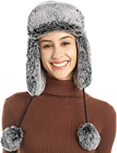 FLY HAWK Trapper Hats for Womens Girls, Faux Fur Hat with Ear Flap Russian Style Winter Warm Bomber Trapper
