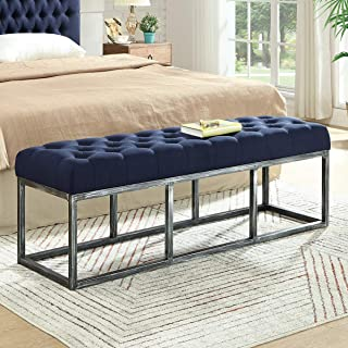 24KF Upholstered Tufted Long Bench with Metal Frame Leg, Ottoman Bench with Padded Seat-Navy Blue
