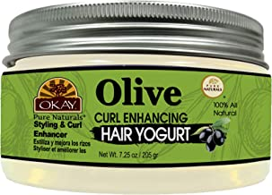 OKAY | Olive Curl Enhancing Hair Yogurt | For Well Defined Curls | Frizz Free | Smooth & Glossy | Free of Alcohol, Sulfate, Paraben | 7.25 oz