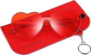 9b5cd8d2251 FEISEDY Rimless Heart Shaped Sunglasses Women One Piece Fashion Love Glasses  B2419