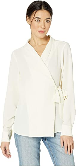 Bubble Crepe Side Tie Wrap Top