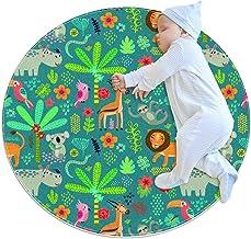 Sömlöst mönster djungeldjur, barn rund matta polyester överkast matta mjuk pedagogisk tvättbar matta barnkammare tipi-tält...