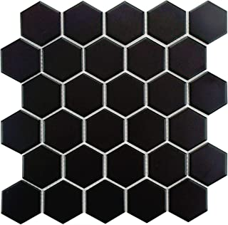 SomerTile FXLM2HMB Retro Hex Porcelain Floor and Wall Tile, 10.5