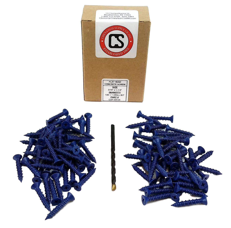 "Chenango Supply 3/16 x 1-1/4"" Phillips Flat Head Concrete Screw Anchor. 100 Pieces with Drill Bit (Miami-Dade Compliant) (3/16 x 1-1/4)"