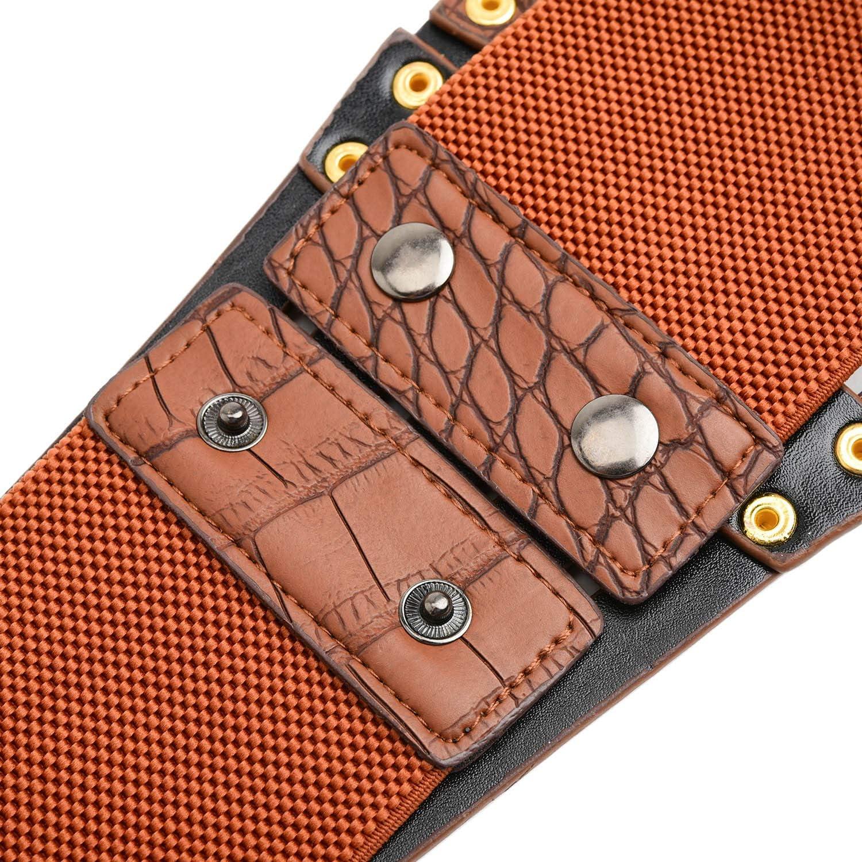 Syuer Damen Taillengürtel, Kunstleder, 5 Metallringe, elastisch Braun