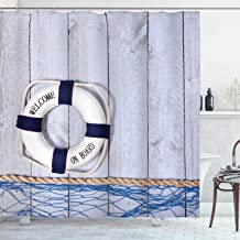 Ambesonne Buoy Shower Curtain, Welcome on Board Greeting Message Holiday Seaman Sailing Maritime Theme, Cloth Fabric Bathroom Decor Set with Hooks, 75 Long, Blue Grey
