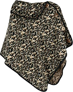 CTM Women's Leopard Print Poncho