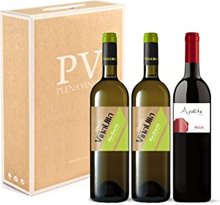 Vino blanco Rias Baixas 100% Albariño Gallego dulce afrutado/Vino tinto Rioja crianza 100% Tempranillo. Estuche 3 botellas (2 ViñaUlla Rías Baixas + 1 Ardite Rioja). Excelente pack mixto.