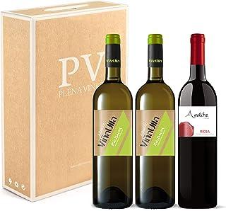 Vino blanco Rias Baixas 100% Albariño Gallego cosecha 2019/ Vino tinto Rioja crianza 100% Tempranillo cosecha 2016. Estuche 3 botellas (2 ViñaUlla+1 Ardite). Excelente pack mixto.