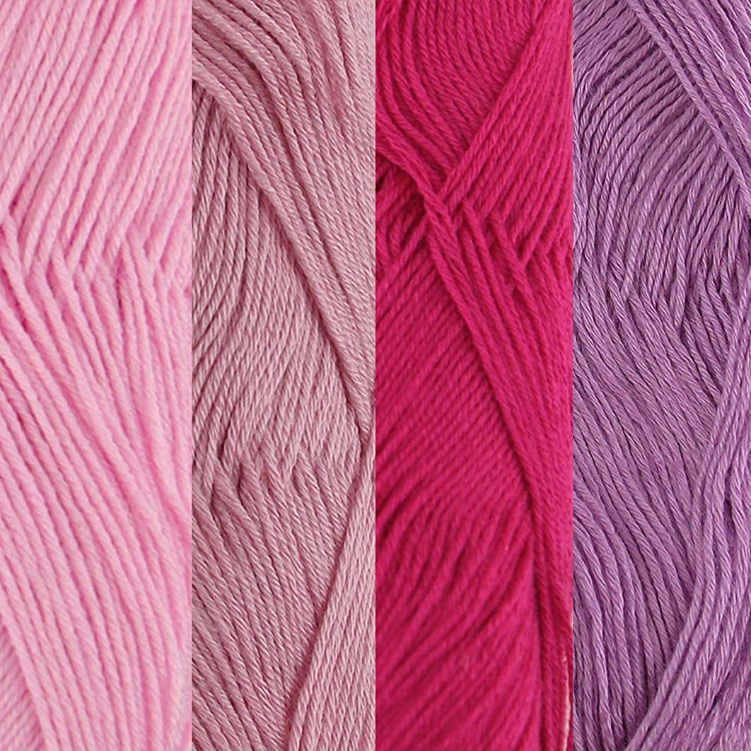 BambooMN Lace Weight Rayon from Bamboo Fiber Yarn - 50/Skein - 4 Skein Assorted Color Package - Shades of Purple